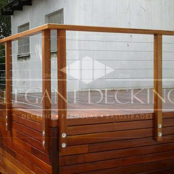 Wood with Horizontal Stainless Steel Cables